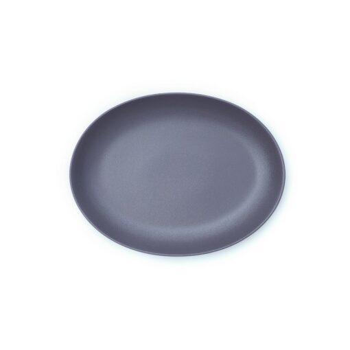 Plato oval de porcelana gris